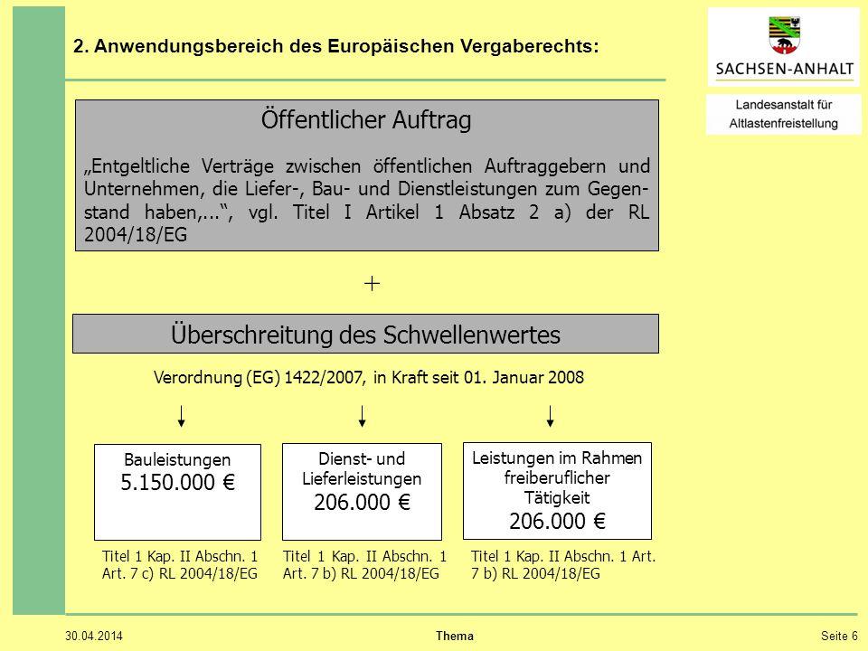 + Öffentlicher Auftrag Überschreitung des Schwellenwertes 5.150.000 €