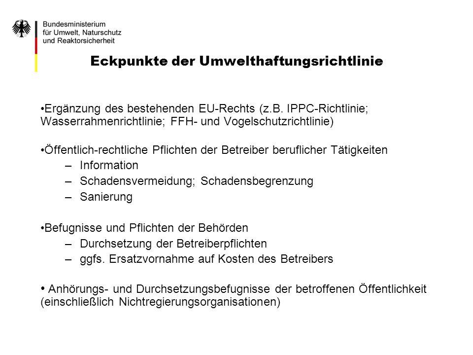 Eckpunkte der Umwelthaftungsrichtlinie