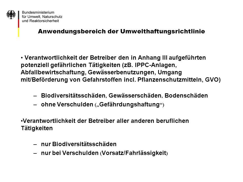 Anwendungsbereich der Umwelthaftungsrichtlinie