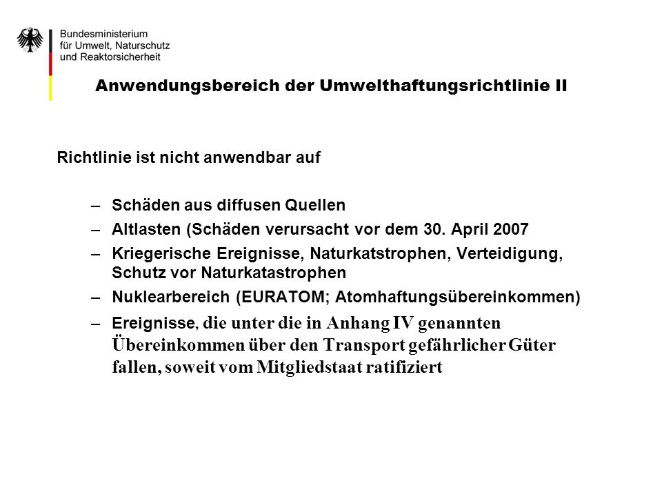 Anwendungsbereich der Umwelthaftungsrichtlinie II