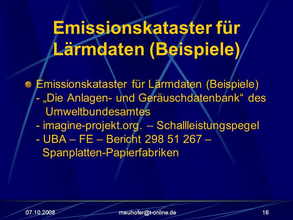 Emissionskataster für Lärmdaten (Beispiele)