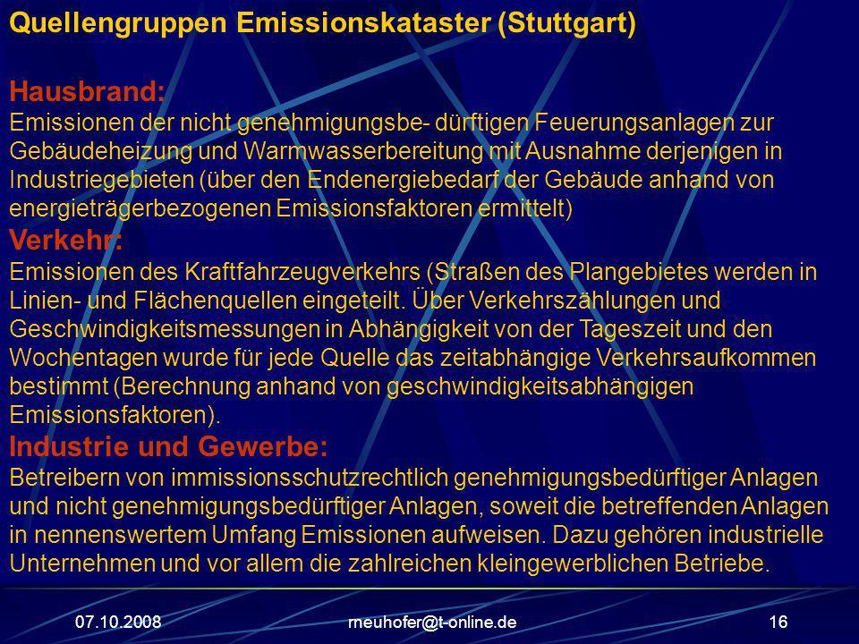 Quellengruppen Emissionskataster (Stuttgart)