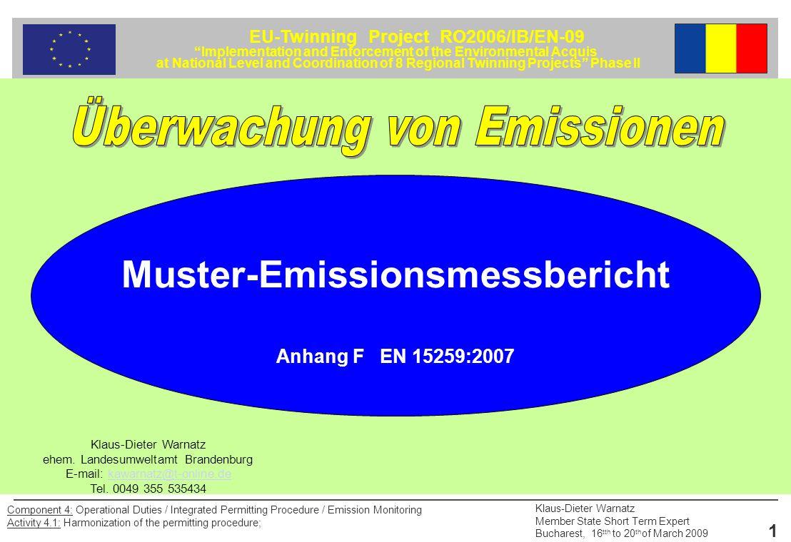 Überwachung von Emissionen Muster-Emissionsmessbericht
