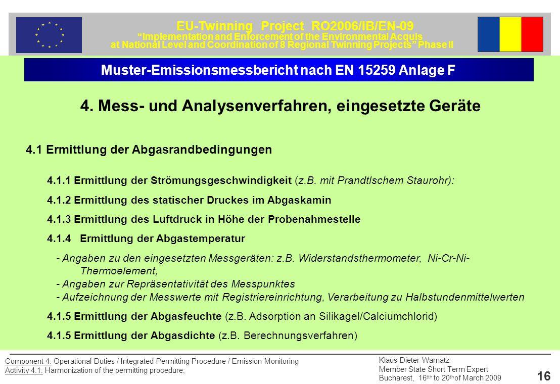 4. Mess- und Analysenverfahren, eingesetzte Geräte