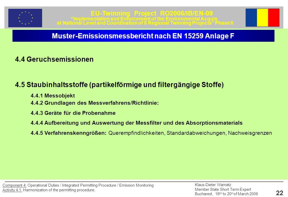 Muster-Emissionsmessbericht nach EN 15259 Anlage F