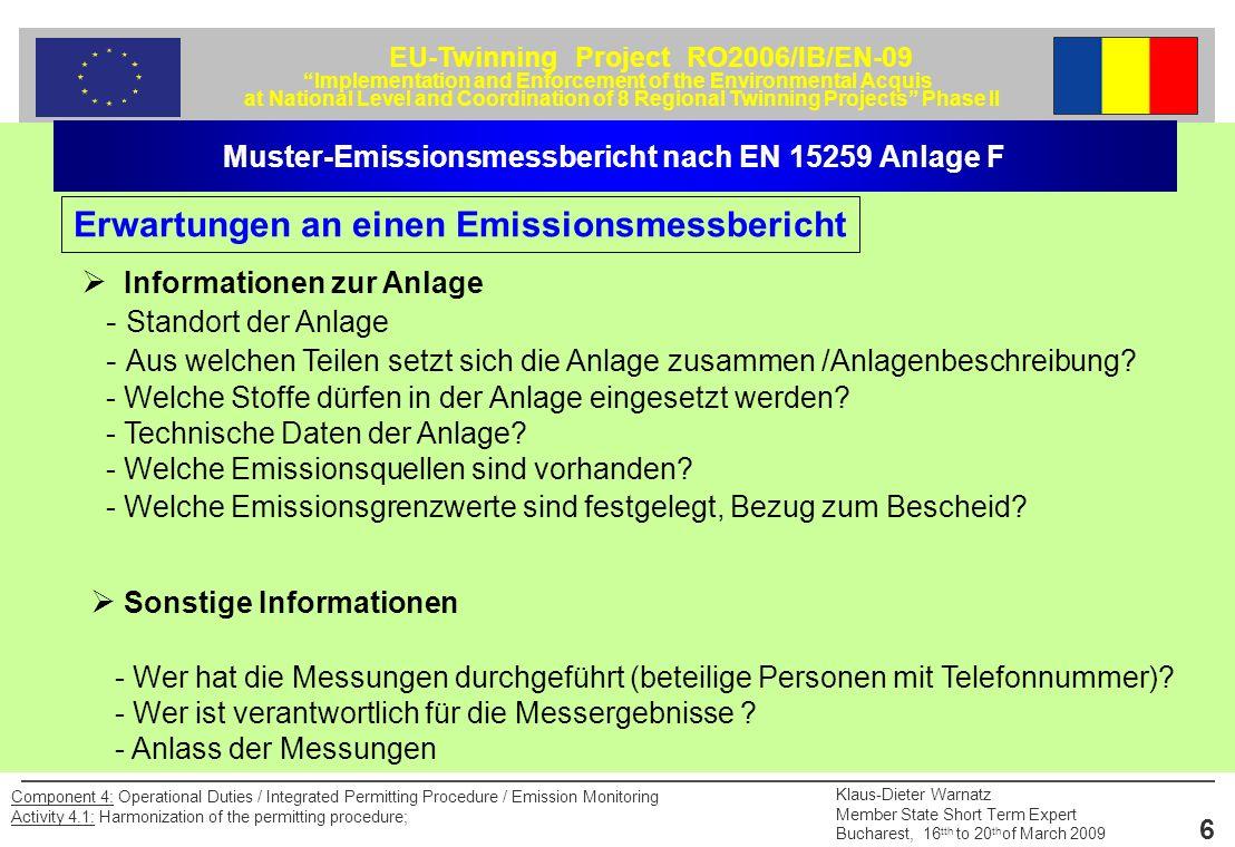 Erwartungen an einen Emissionsmessbericht