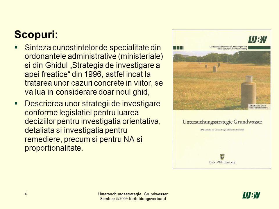 Untersuchungsstrategie Grundwasser Seminar 5/2009 fortbildungsverbund