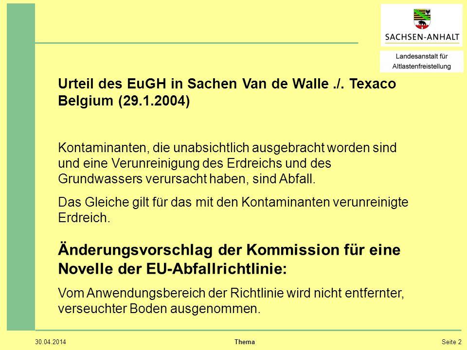 Urteil des EuGH in Sachen Van de Walle ./. Texaco Belgium (29.1.2004)