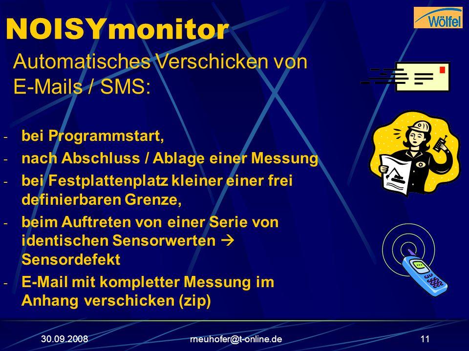 NOISYmonitor Automatisches Verschicken von E-Mails / SMS:
