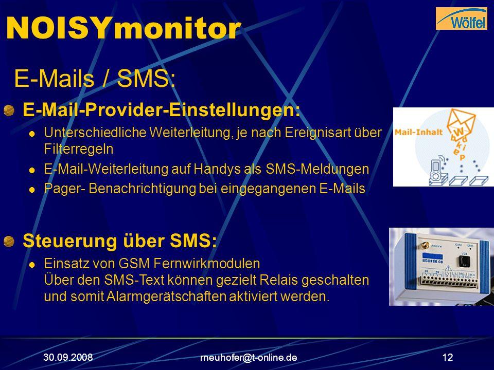 NOISYmonitor E-Mails / SMS: E-Mail-Provider-Einstellungen: