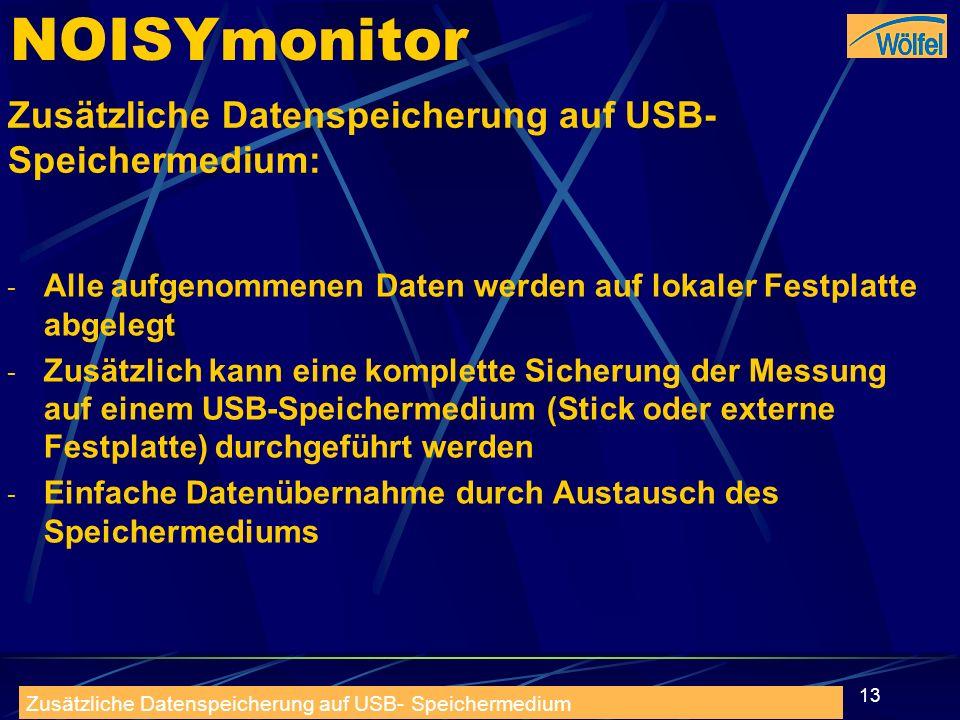 NOISYmonitor Zusätzliche Datenspeicherung auf USB- Speichermedium: