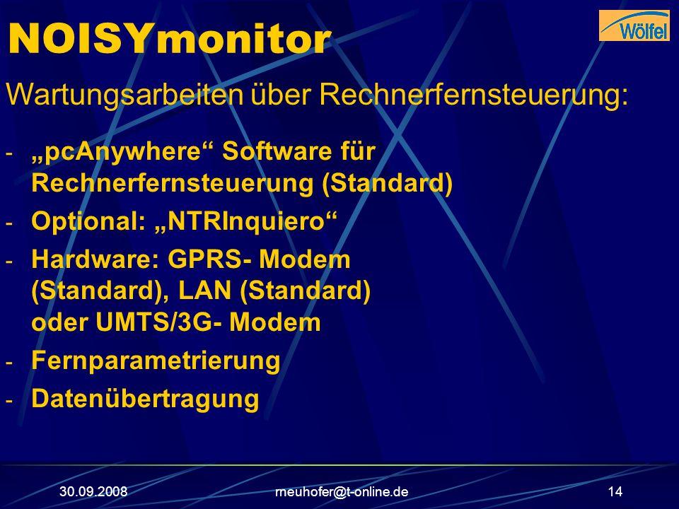 NOISYmonitor Wartungsarbeiten über Rechnerfernsteuerung:
