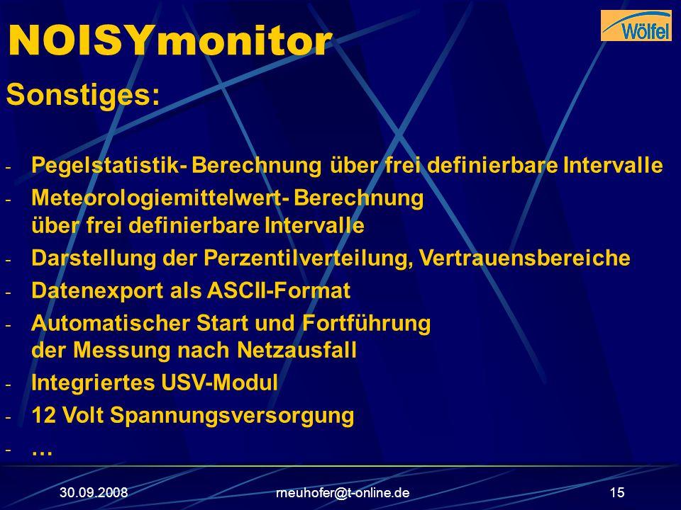 NOISYmonitor Sonstiges: