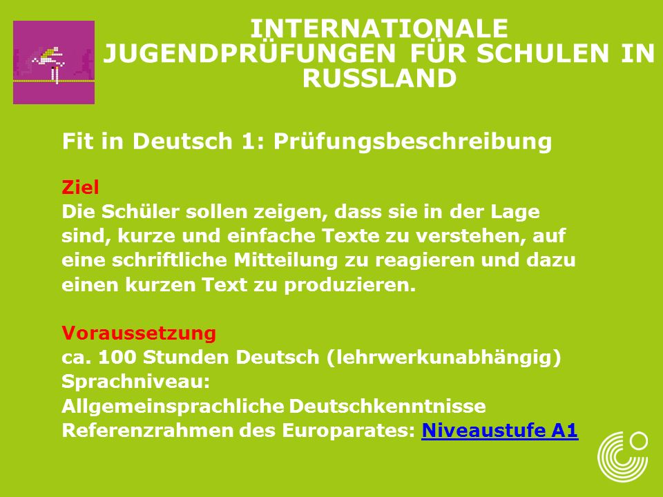 Internationale Jugendprüfungen für Schulen in Russland