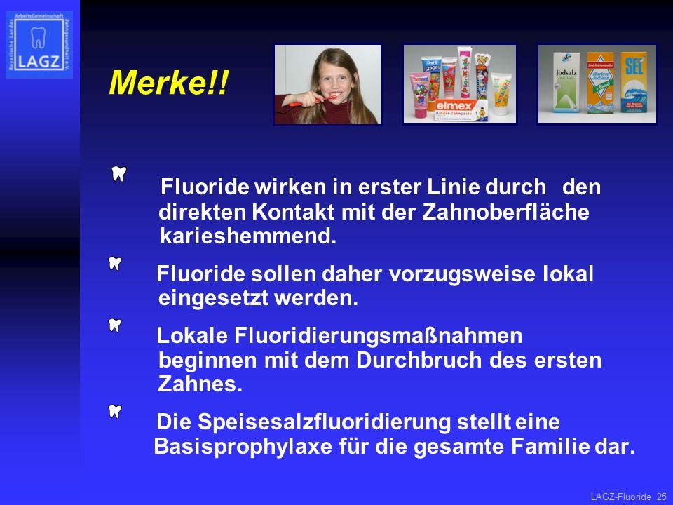 Merke!! Fluoride wirken in erster Linie durch den direkten Kontakt mit der Zahnoberfläche karieshemmend.