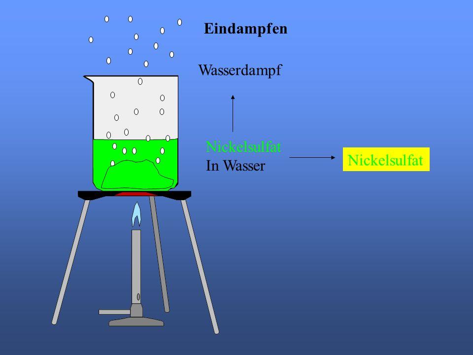 Eindampfen Wasserdampf Nickelsulfat In Wasser Nickelsulfat