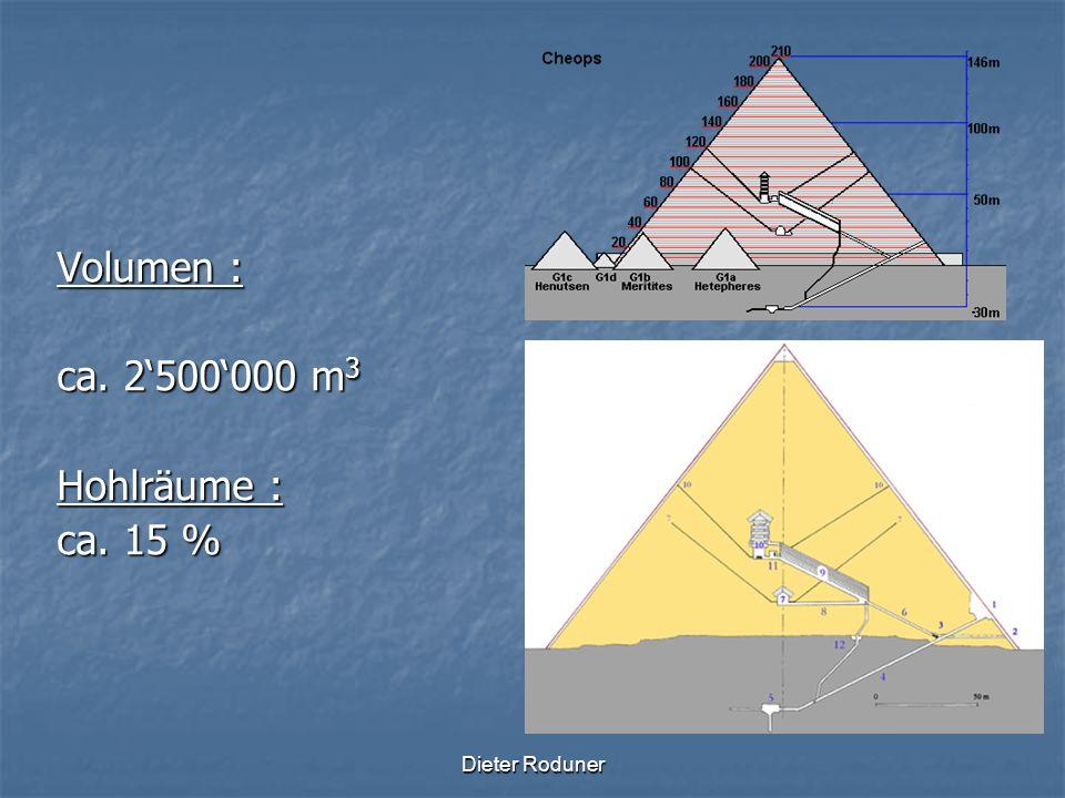Volumen : ca. 2'500'000 m3 Hohlräume : ca. 15 % Dieter Roduner