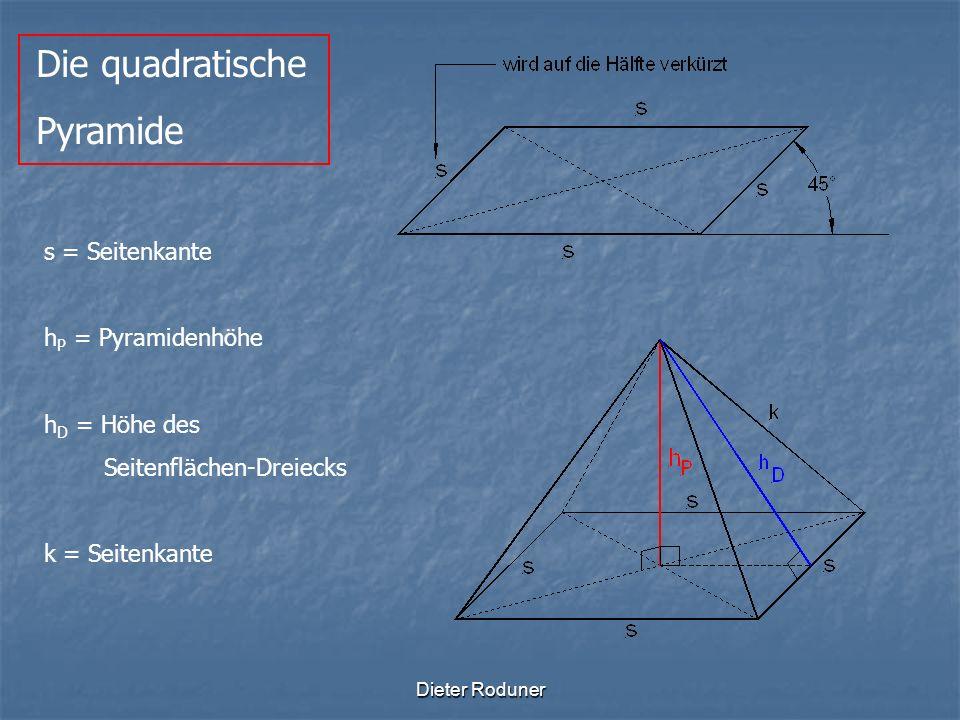 Die quadratische Pyramide s = Seitenkante hP = Pyramidenhöhe