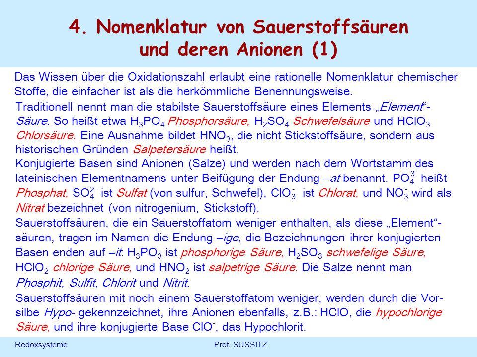 4. Nomenklatur von Sauerstoffsäuren und deren Anionen (1)