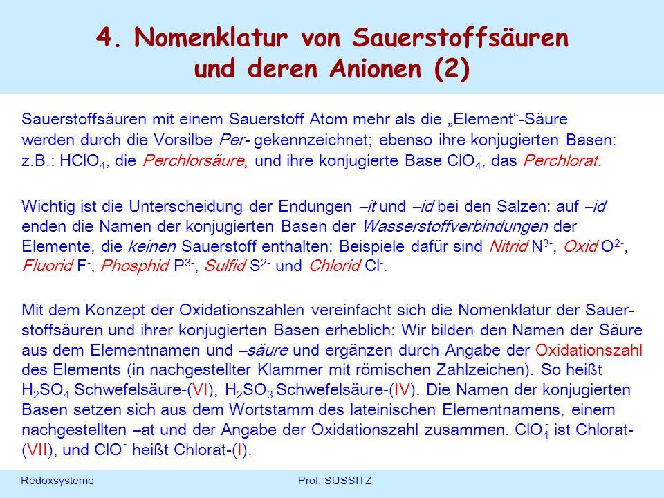 4. Nomenklatur von Sauerstoffsäuren und deren Anionen (2)