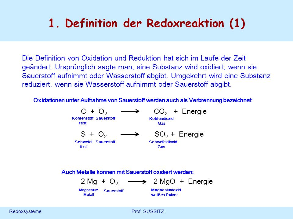 1. Definition der Redoxreaktion (1)