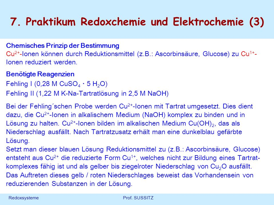 7. Praktikum Redoxchemie und Elektrochemie (3)