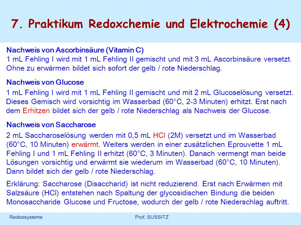 7. Praktikum Redoxchemie und Elektrochemie (4)
