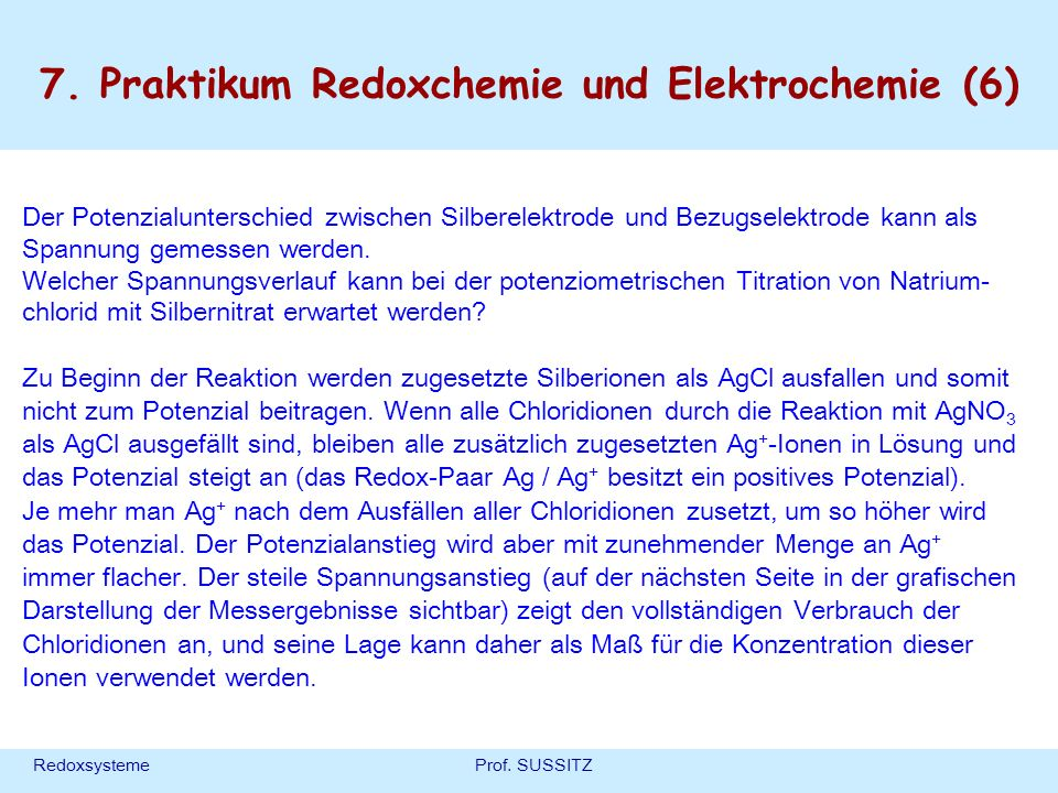 7. Praktikum Redoxchemie und Elektrochemie (6)