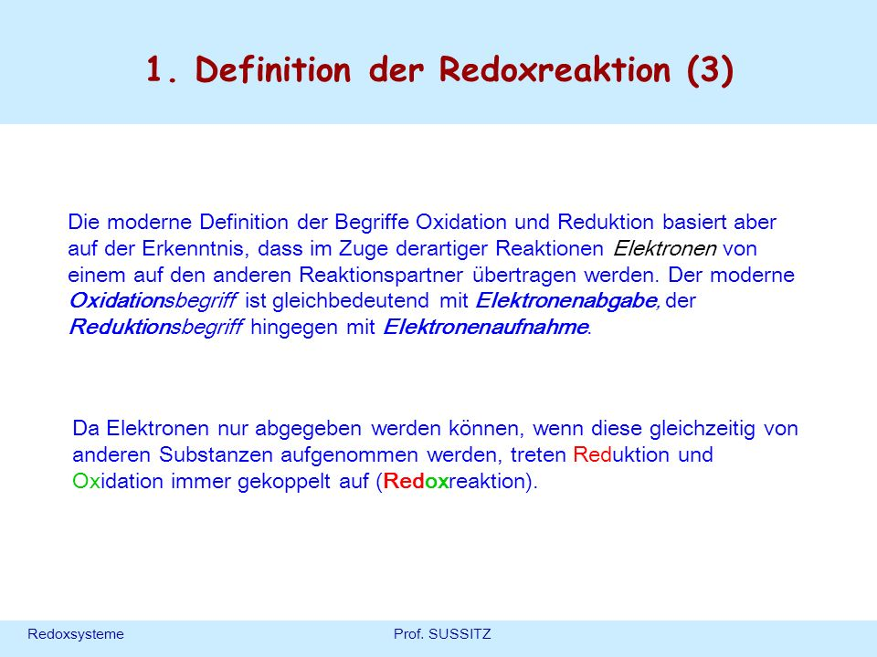 1. Definition der Redoxreaktion (3)