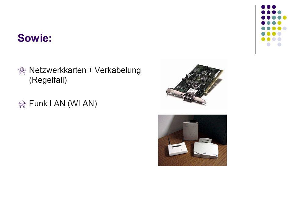 Sowie: Netzwerkkarten + Verkabelung (Regelfall) Funk LAN (WLAN)