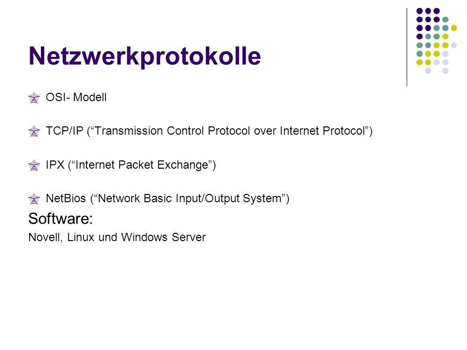 Netzwerkprotokolle Software: OSI- Modell