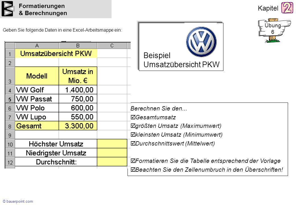 Beispiel Umsatzübersicht PKW Formatierungen & Berechnungen
