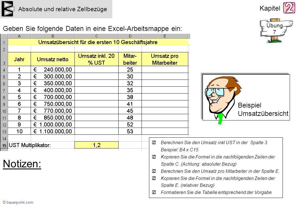 Notizen: Geben Sie folgende Daten in eine Excel-Arbeitsmappe ein:
