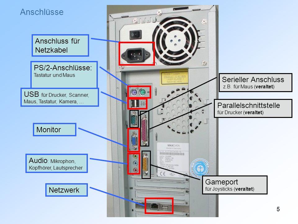 Anschlüsse Anschluss für Netzkabel PS/2-Anschlüsse: Tastatur und Maus