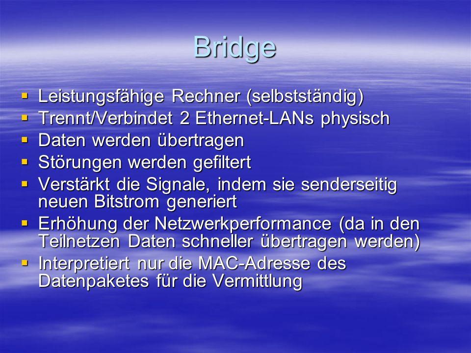 Bridge Leistungsfähige Rechner (selbstständig)