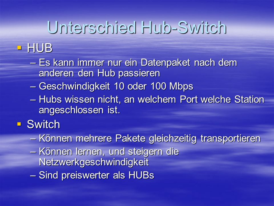 Unterschied Hub-Switch