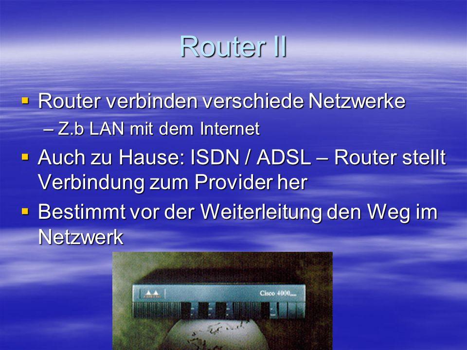 Router II Router verbinden verschiede Netzwerke