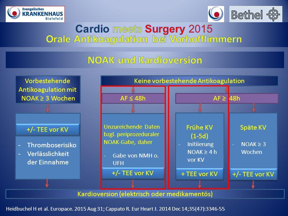 Orale Antikoagulation bei Vorhofflimmern NOAK und Kardioversion