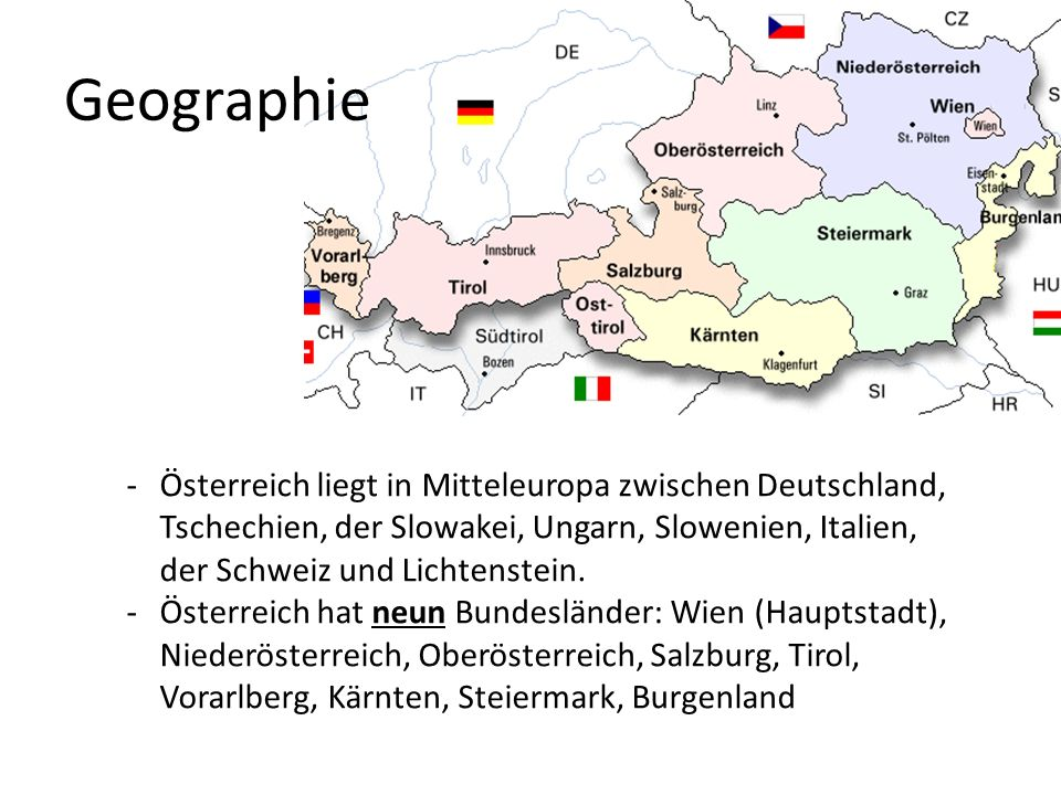 GeographieÖsterreich liegt in Mitteleuropa zwischen Deutschland, Tschechien, der Slowakei, Ungarn, Slowenien, Italien, der Schweiz und Lichtenstein.