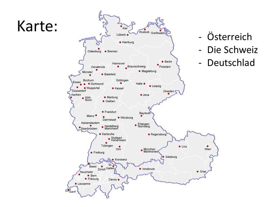 Karte: Österreich Die Schweiz Deutschlad
