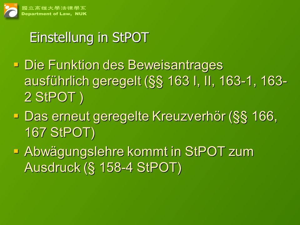 Einstellung in StPOTDie Funktion des Beweisantrages ausführlich geregelt (§§ 163 I, II, 163-1, 163-2 StPOT )