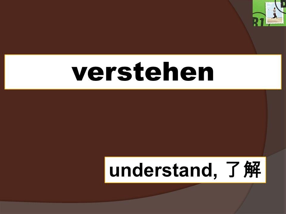 verstehen understand, 了解