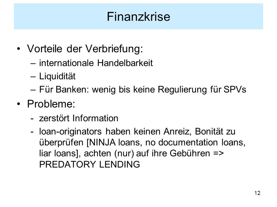 Finanzkrise Vorteile der Verbriefung: Probleme: