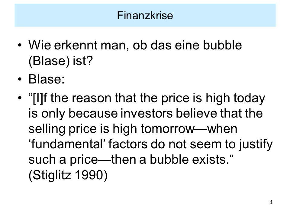 Wie erkennt man, ob das eine bubble (Blase) ist Blase: