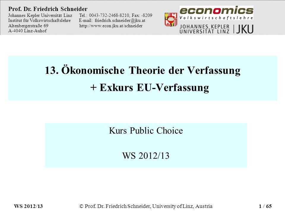 13. Ökonomische Theorie der Verfassung + Exkurs EU-Verfassung