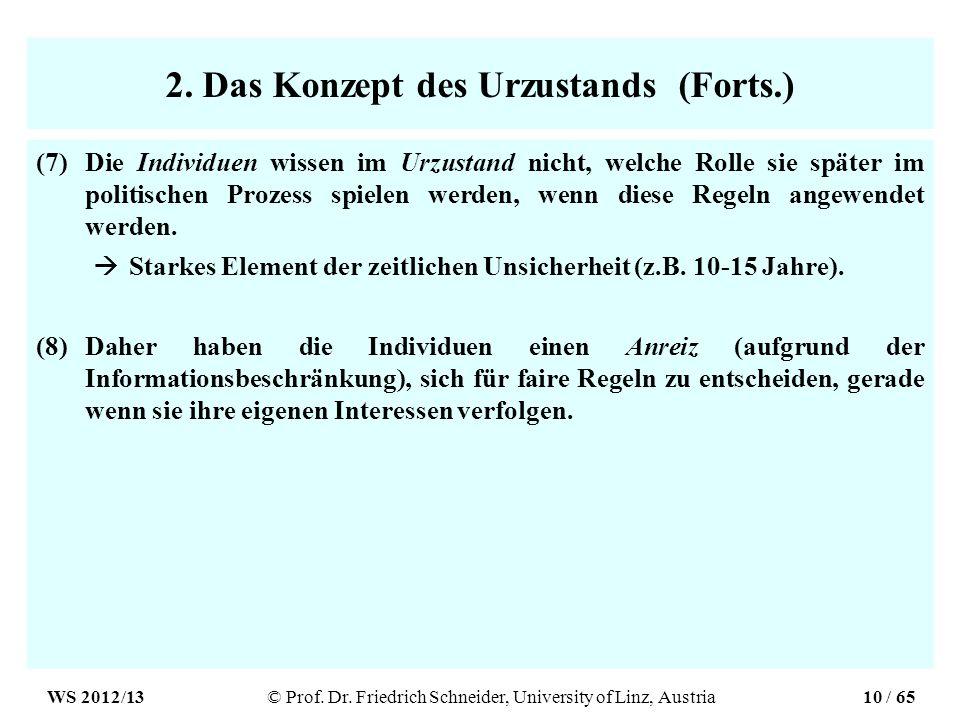 2. Das Konzept des Urzustands (Forts.)