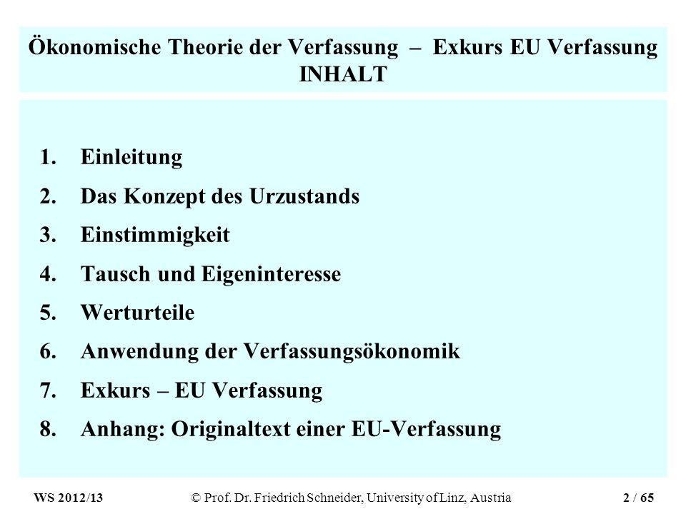 Ökonomische Theorie der Verfassung – Exkurs EU Verfassung INHALT