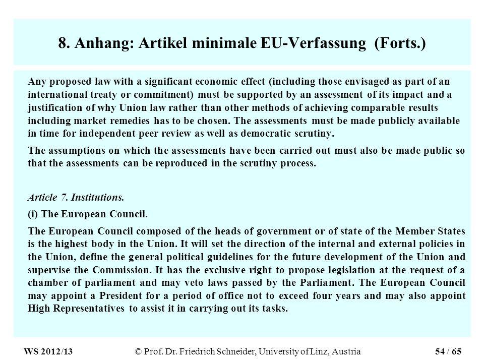 8. Anhang: Artikel minimale EU-Verfassung (Forts.)