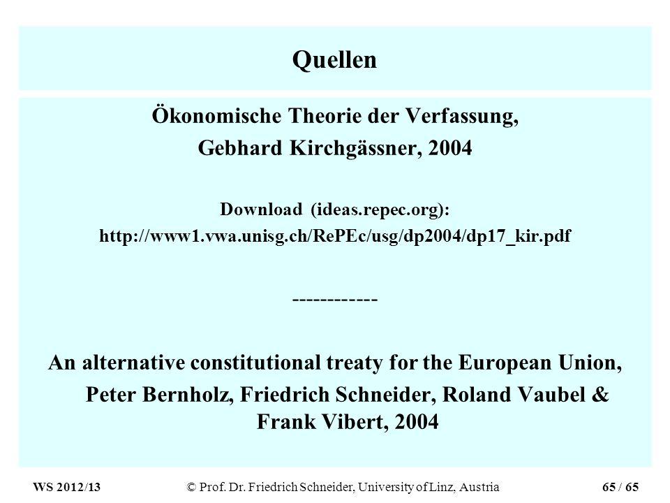 Quellen Ökonomische Theorie der Verfassung, Gebhard Kirchgässner, 2004