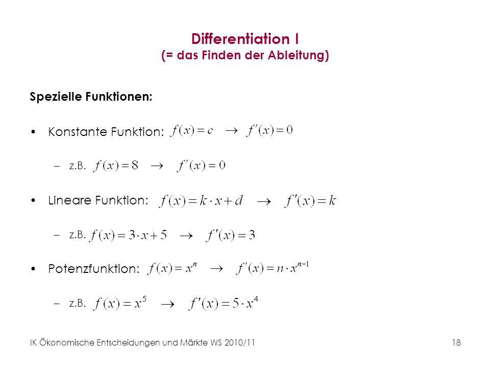 Differentiation I (= das Finden der Ableitung)